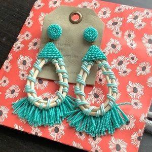 NWT Anthropologie Beads Tassels Mint Drop Earrings